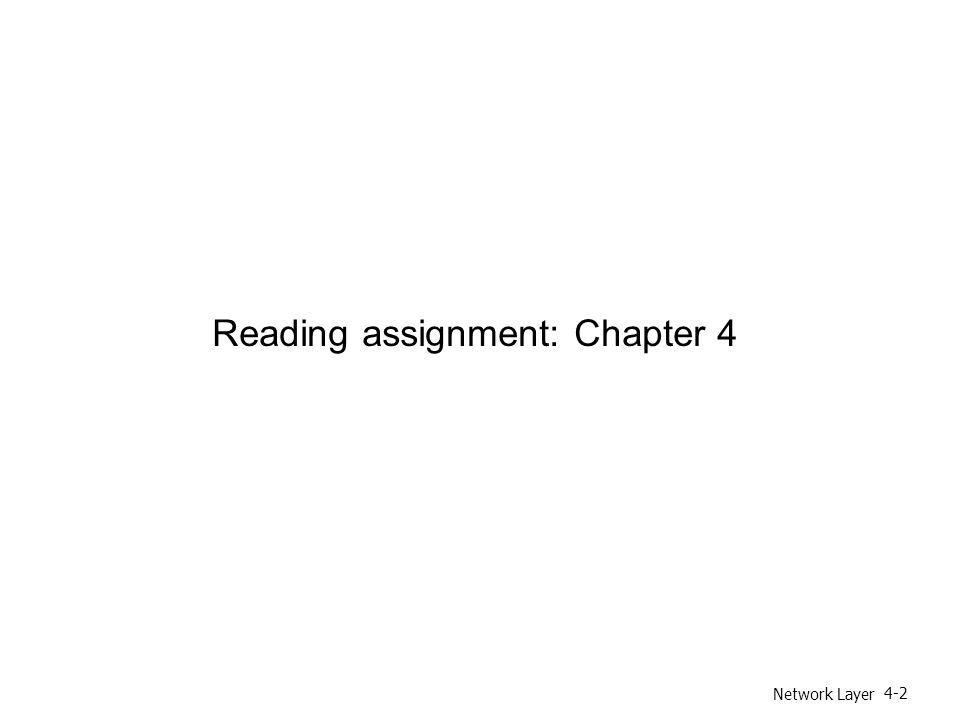 Network Layer 4-2 Reading assignment: Chapter 4