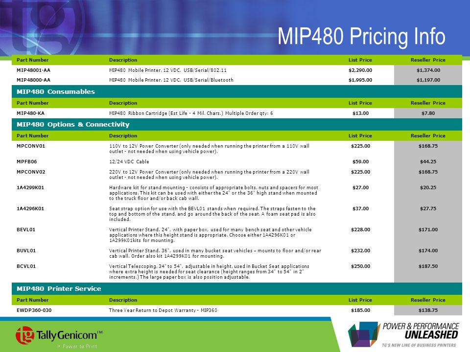 MIP480 Pricing Info Part NumberDescriptionList PriceReseller Price MIP48001-AAMIP480 Mobile Printer, 12 VDC, USB/Serial/802.11$2,290.00$1,374.00 MIP48