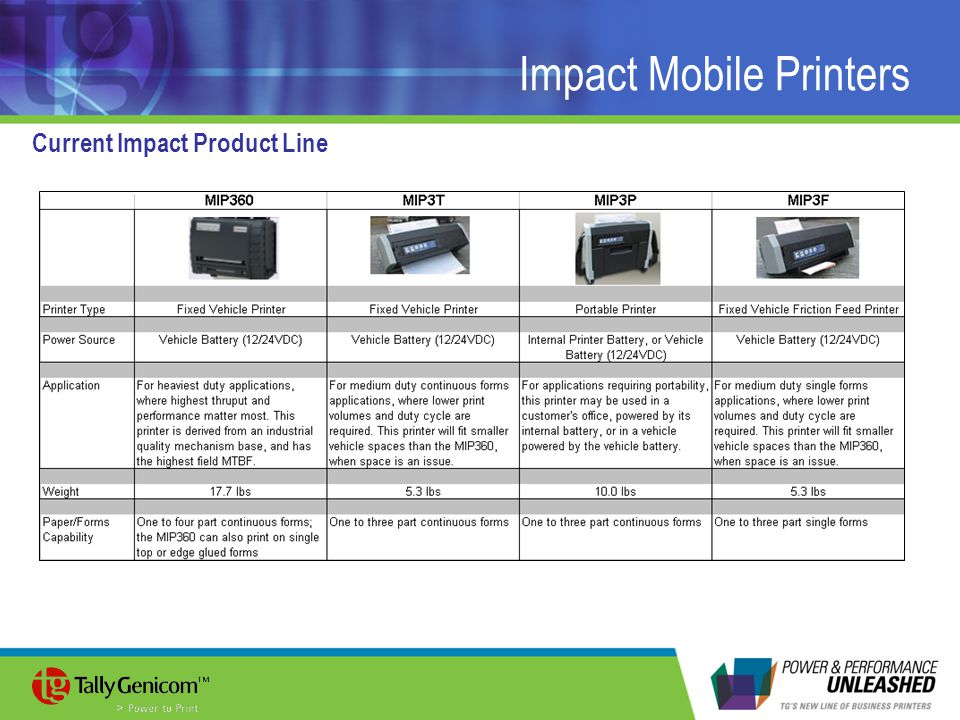 Impact Mobile Printers Current Impact Product Line