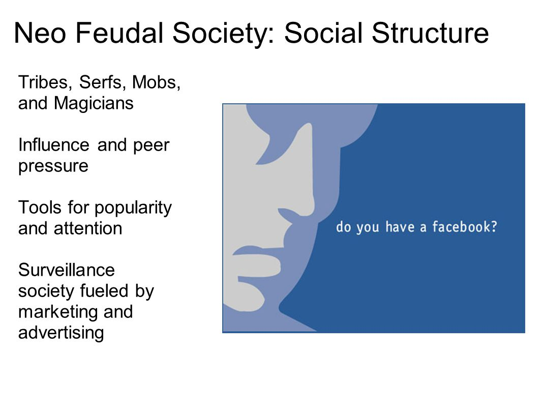 Neo Feudal Society: Social Structure Tribes, Serfs, Mobs, and Magicians Influence and peer pressure Tools for popularity and attention Surveillance so