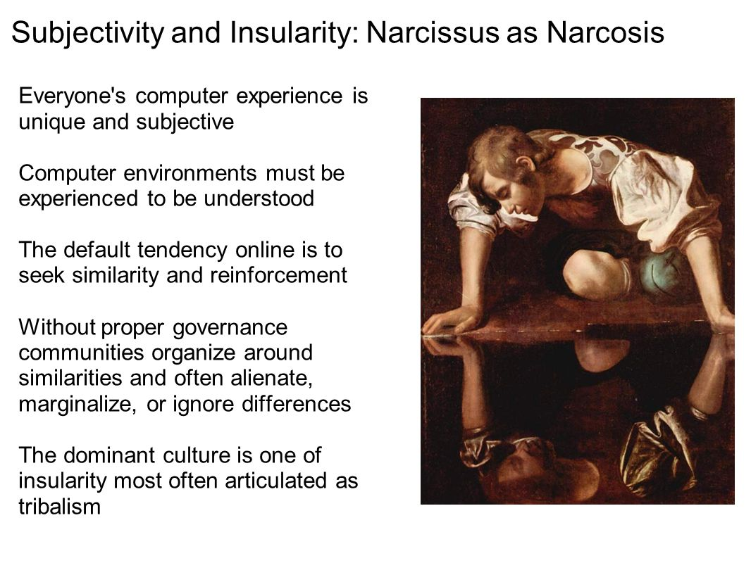 Subjectivity and Insularity: Narcissus as Narcosis Everyone's computer experience is unique and subjective Computer environments must be experienced t