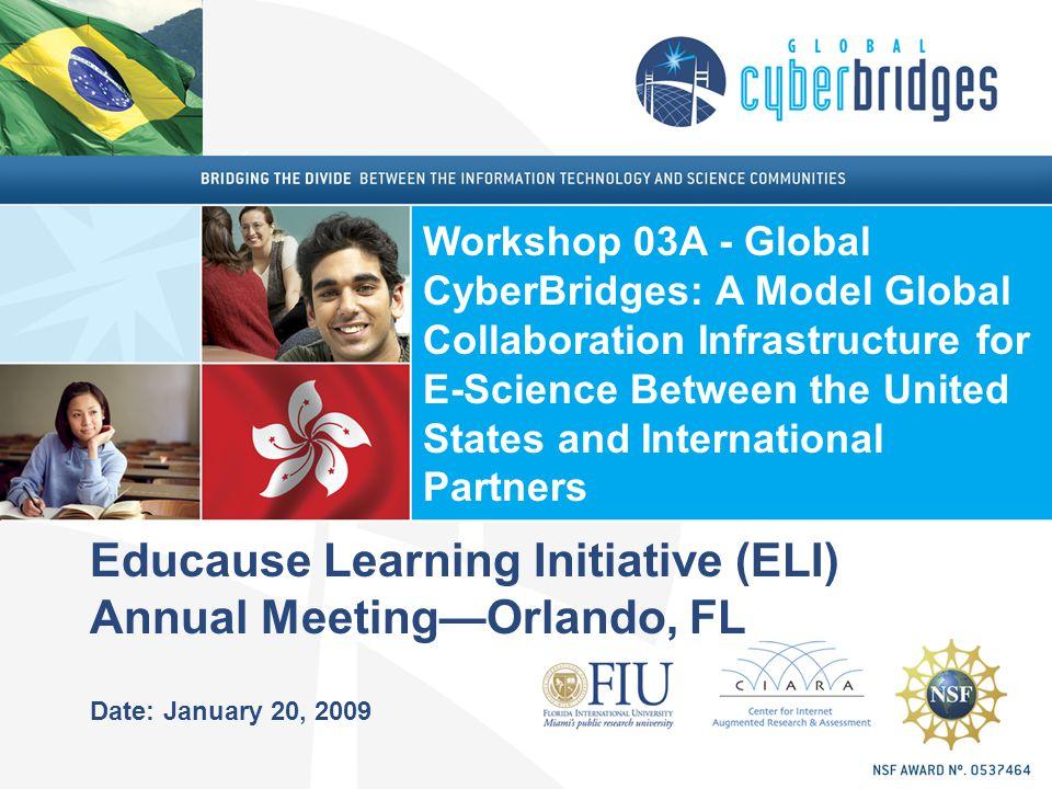 Educause Learning Initiative (ELI) Annual MeetingOrlando, FL Date: January 20, 2009 Workshop 03A - Global CyberBridges: A Model Global Collaboration I