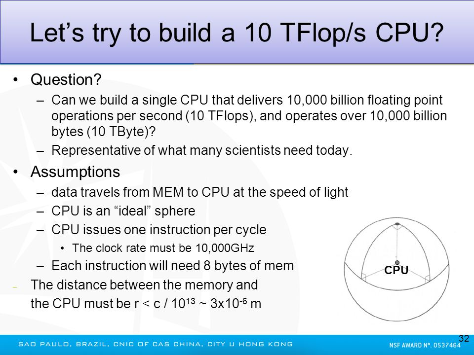 Lets try to build a 10 TFlop/s CPU? Question? –Can we build a single CPU that delivers 10,000 billion floating point operations per second (10 TFlops)