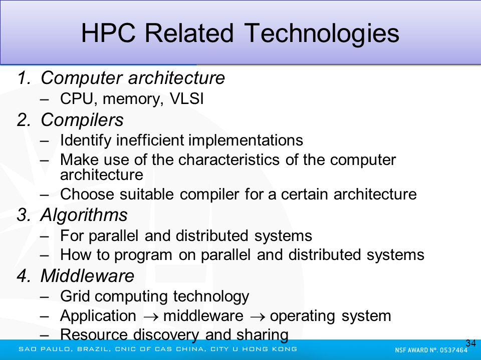 HPC Related Technologies 1.Computer architecture –CPU, memory, VLSI 2.Compilers –Identify inefficient implementations –Make use of the characteristics
