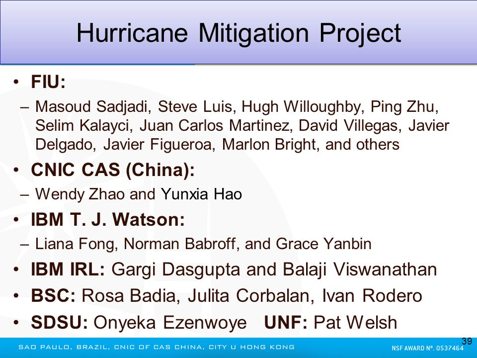 Hurricane Mitigation Project FIU: –Masoud Sadjadi, Steve Luis, Hugh Willoughby, Ping Zhu, Selim Kalayci, Juan Carlos Martinez, David Villegas, Javier