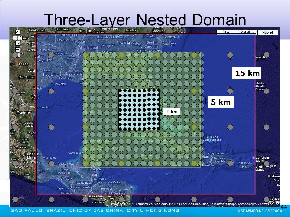 Three-Layer Nested Domain 44 15 km 5 km 1 km