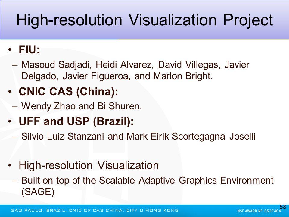 High-resolution Visualization Project FIU: –Masoud Sadjadi, Heidi Alvarez, David Villegas, Javier Delgado, Javier Figueroa, and Marlon Bright. CNIC CA