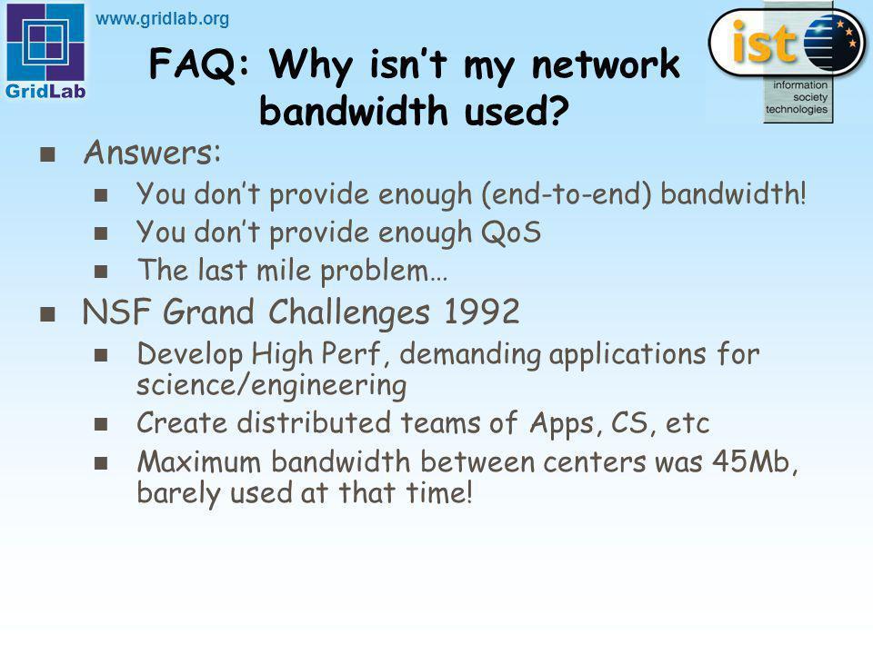 www.gridlab.org FAQ: Why isnt my network bandwidth used.