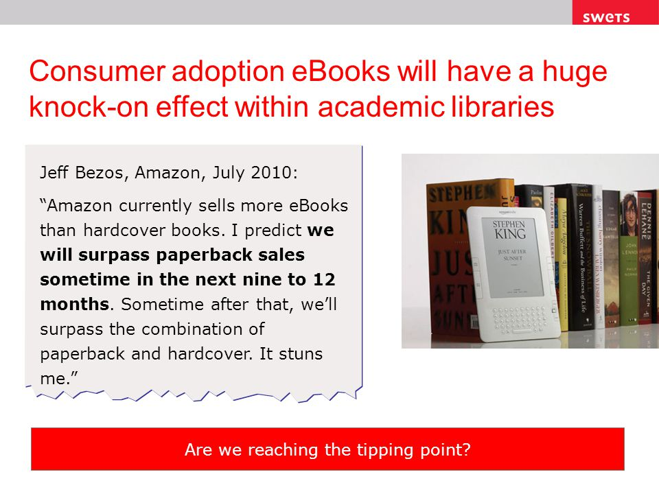 Consumer adoption eBooks will have a huge knock-on effect within academic libraries Jeff Bezos, Amazon, July 2010: Amazon currently sells more eBooks