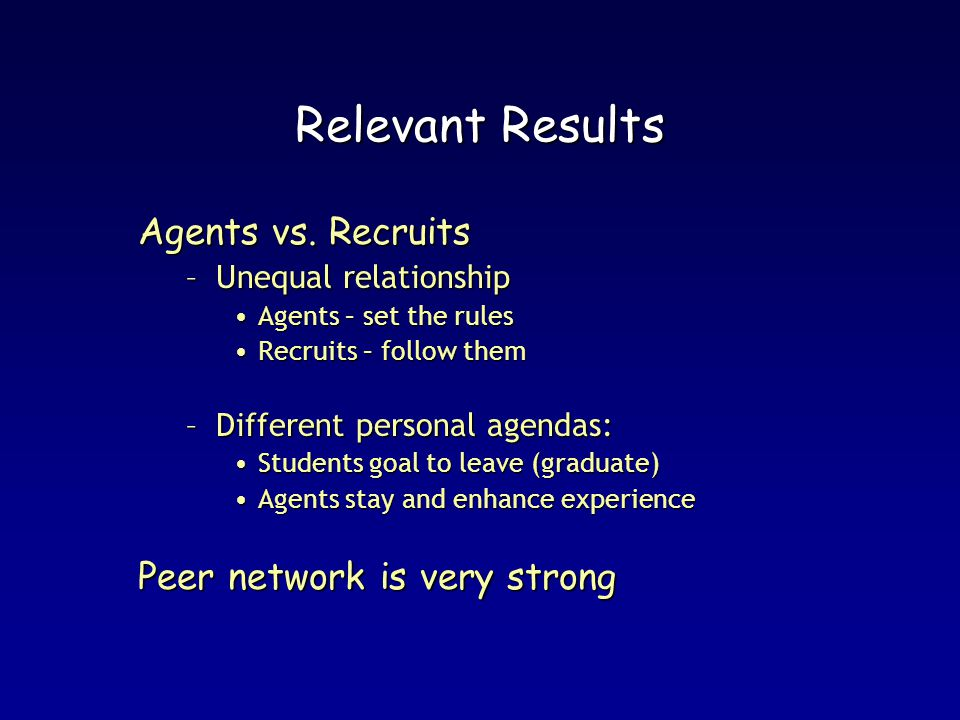 Relevant Results Agents vs.