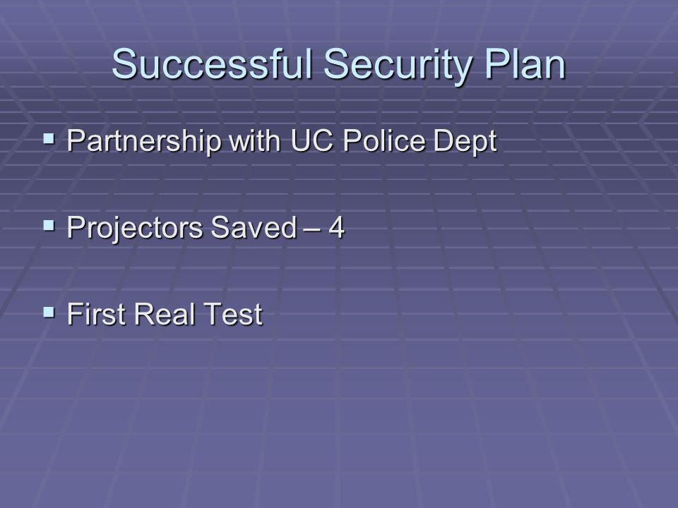 Successful Security Plan Partnership with UC Police Dept Partnership with UC Police Dept Projectors Saved – 4 Projectors Saved – 4 First Real Test First Real Test