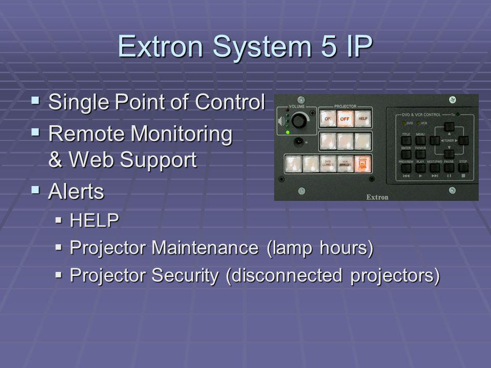 Extron System 5 IP Single Point of Control Single Point of Control Remote Monitoring & Web Support Remote Monitoring & Web Support Alerts Alerts HELP HELP Projector Maintenance (lamp hours) Projector Maintenance (lamp hours) Projector Security (disconnected projectors) Projector Security (disconnected projectors)