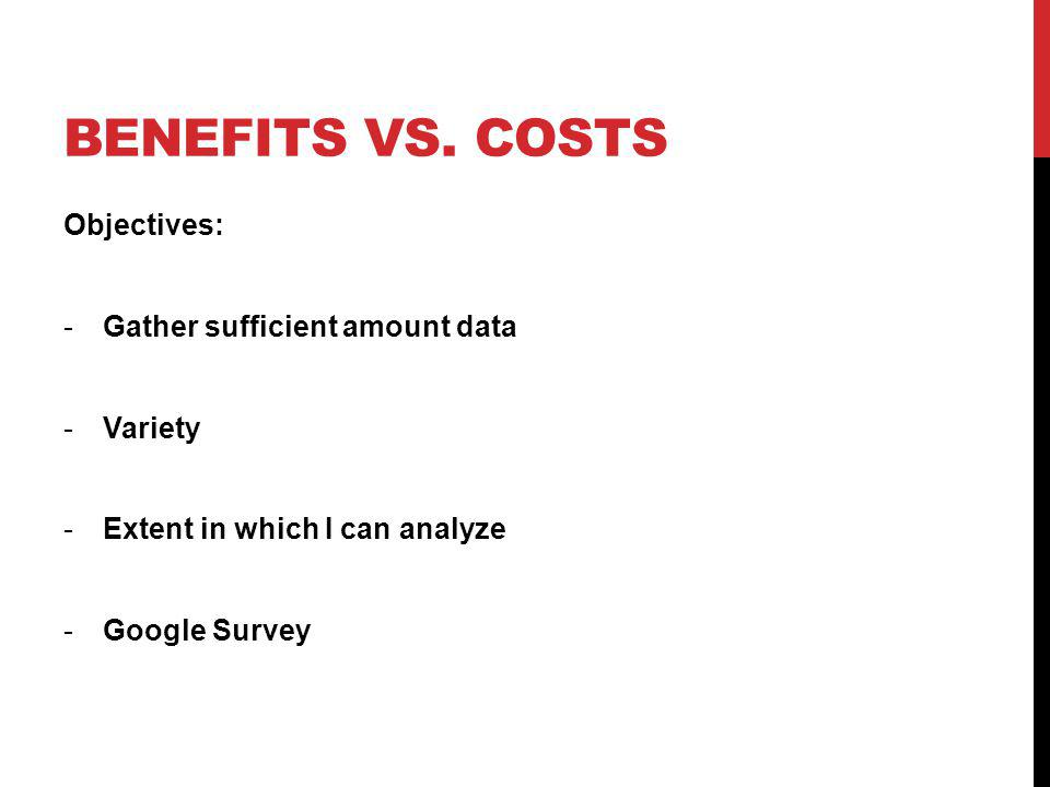 Objectives: -Gather sufficient amount data -Variety -Extent in which I can analyze -Google Survey BENEFITS VS.