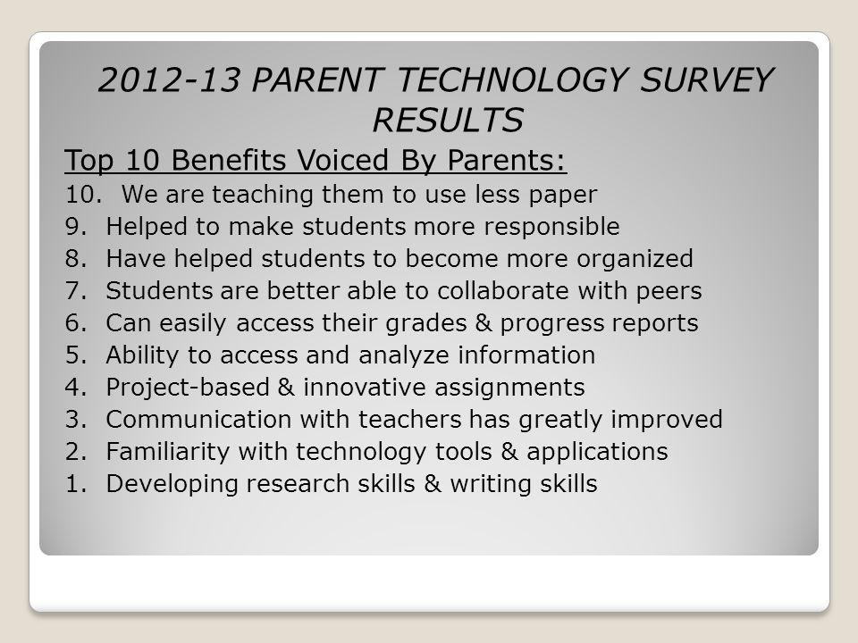 2012-13 PARENT TECHNOLOGY SURVEY RESULTS Top 10 Benefits Voiced By Parents: 10.