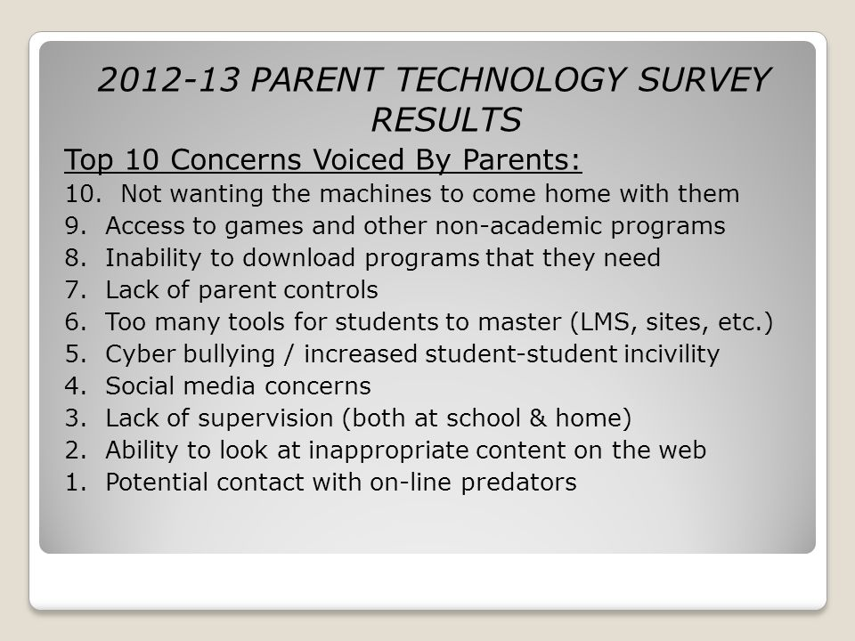 2012-13 PARENT TECHNOLOGY SURVEY RESULTS Top 10 Concerns Voiced By Parents: 10. Not wanting the machines to come home with them 9. Access to games and