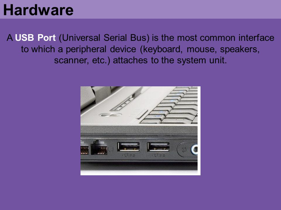 A USB Port (Universal Serial Bus) is the most common interface to which a peripheral device (keyboard, mouse, speakers, scanner, etc.) attaches to the