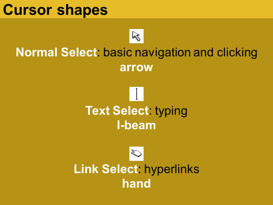 Normal Select: basic navigation and clicking arrow Text Select: typing I-beam Link Select: hyperlinks hand Cursor shapes