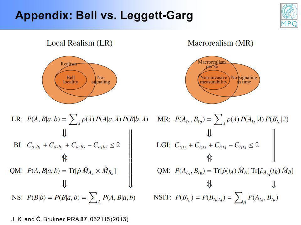 Appendix: Bell vs. Leggett-Garg J. K. and Č. Brukner, PRA 87, 052115 (2013)