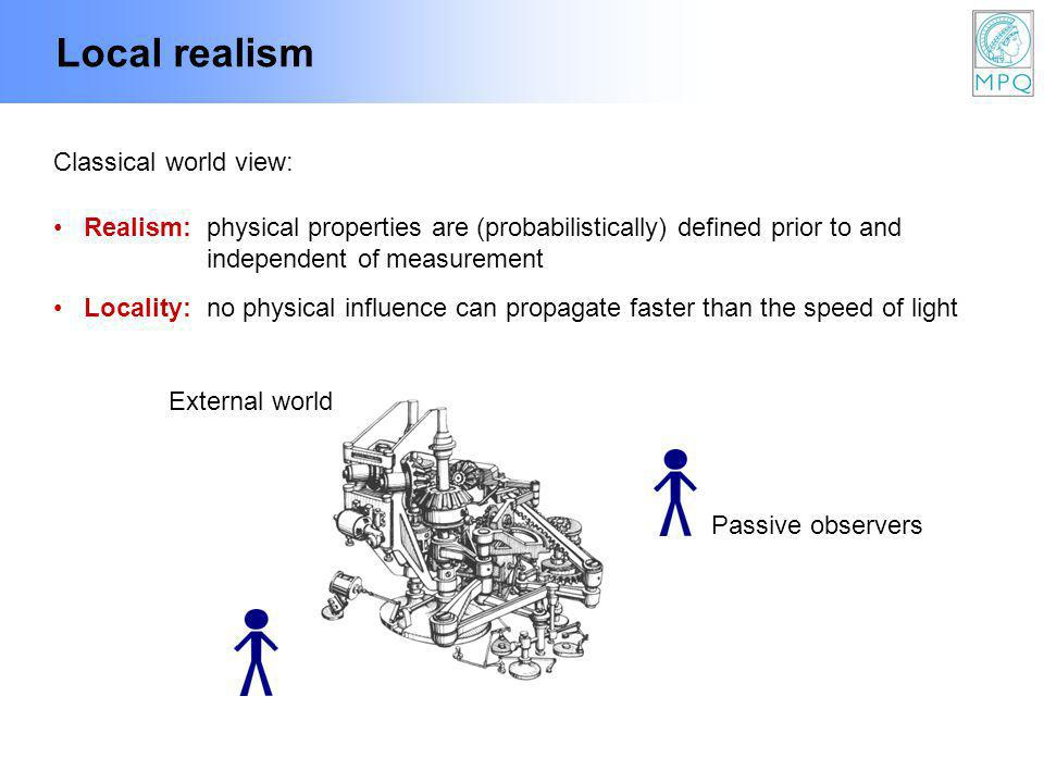 Local realism Realism:physical properties are (probabilistically) defined prior to and independent of measurement Locality:no physical influence can propagate faster than the speed of light External world Passive observers Classical world view: