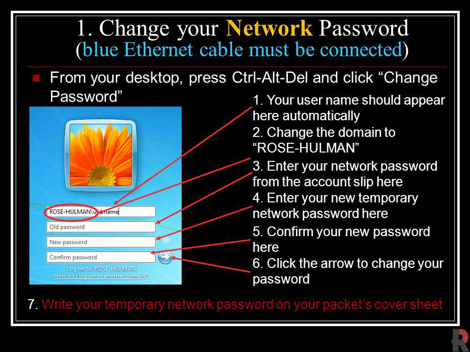 1. Change your Network Password (blue Ethernet cable must be connected) From your desktop, press Ctrl-Alt-Del and click Change Password 3. Enter your