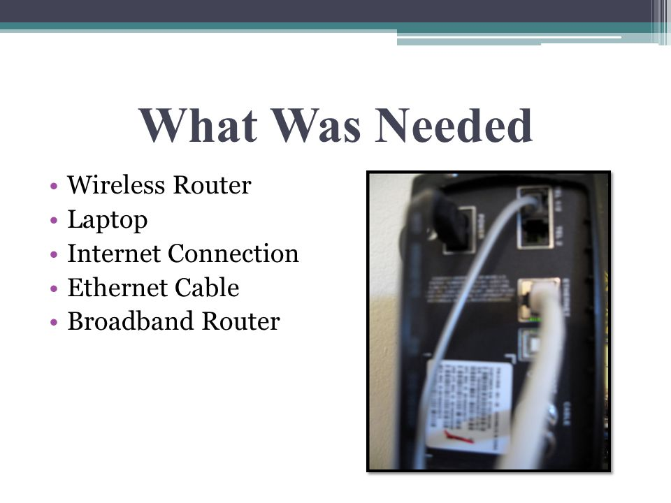 What Was Needed Wireless Router Laptop Internet Connection Ethernet Cable Broadband Router