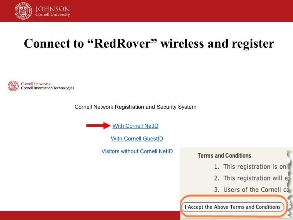 Connect to RedRover wireless and register