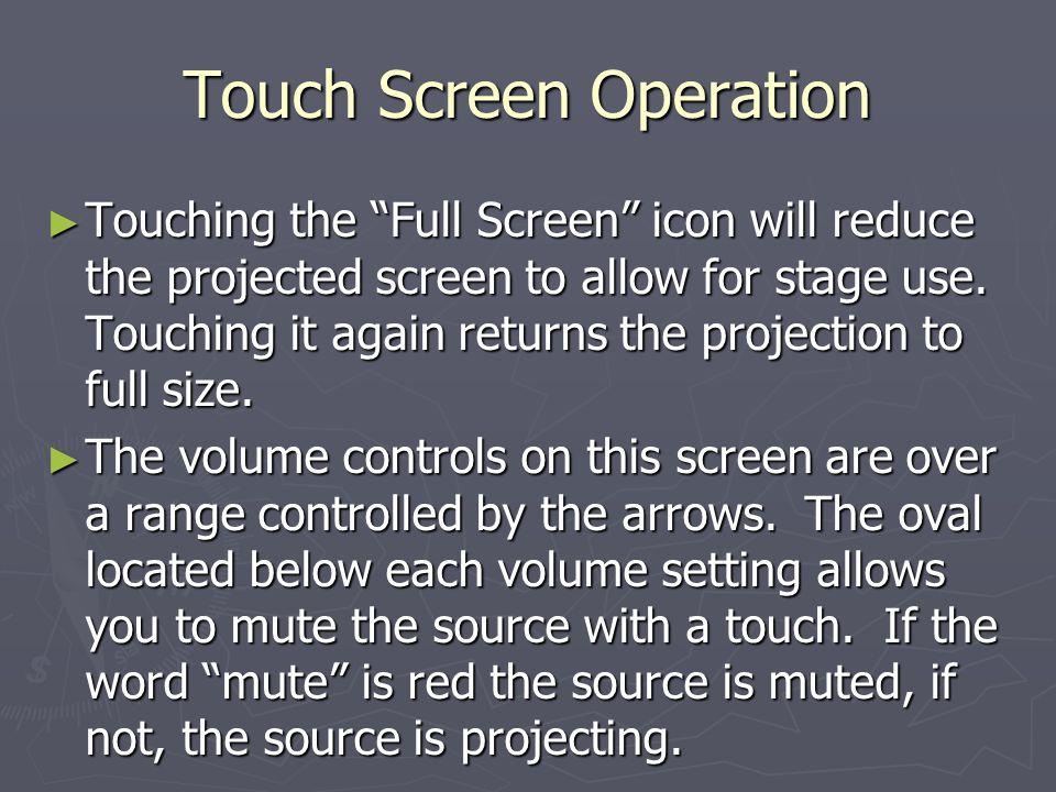 Touch Screen Operation Touching the Full Screen icon will reduce the projected screen to allow for stage use.