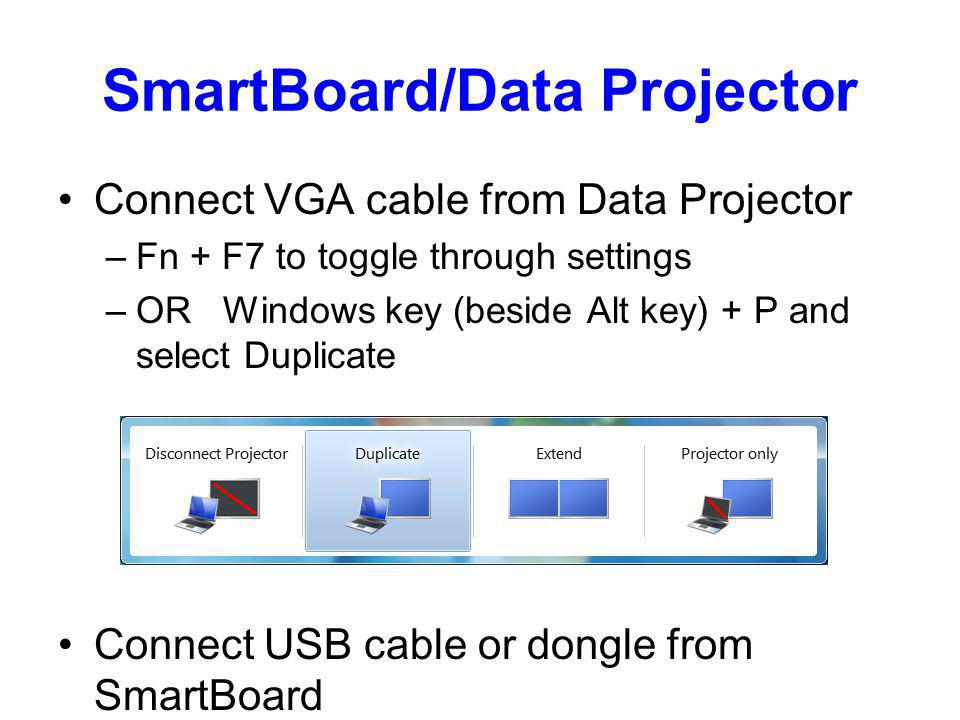 SmartBoard/Data Projector Connect VGA cable from Data Projector –Fn + F7 to toggle through settings –OR Windows key (beside Alt key) + P and select Du