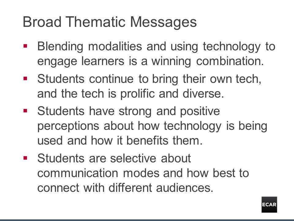 Broad Thematic Messages Blending modalities and using technology to engage learners is a winning combination.