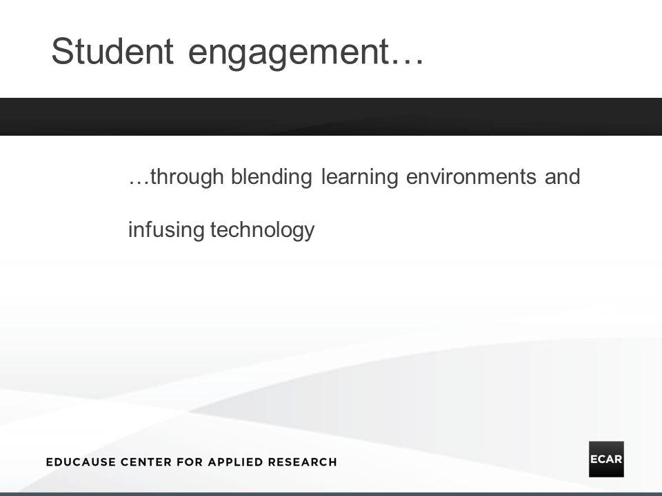 Student engagement… …through blending learning environments and infusing technology