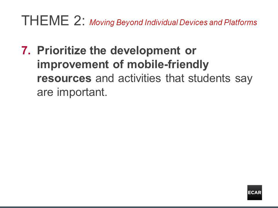 THEME 2: Moving Beyond Individual Devices and Platforms 7.Prioritize the development or improvement of mobile-friendly resources and activities that students say are important.