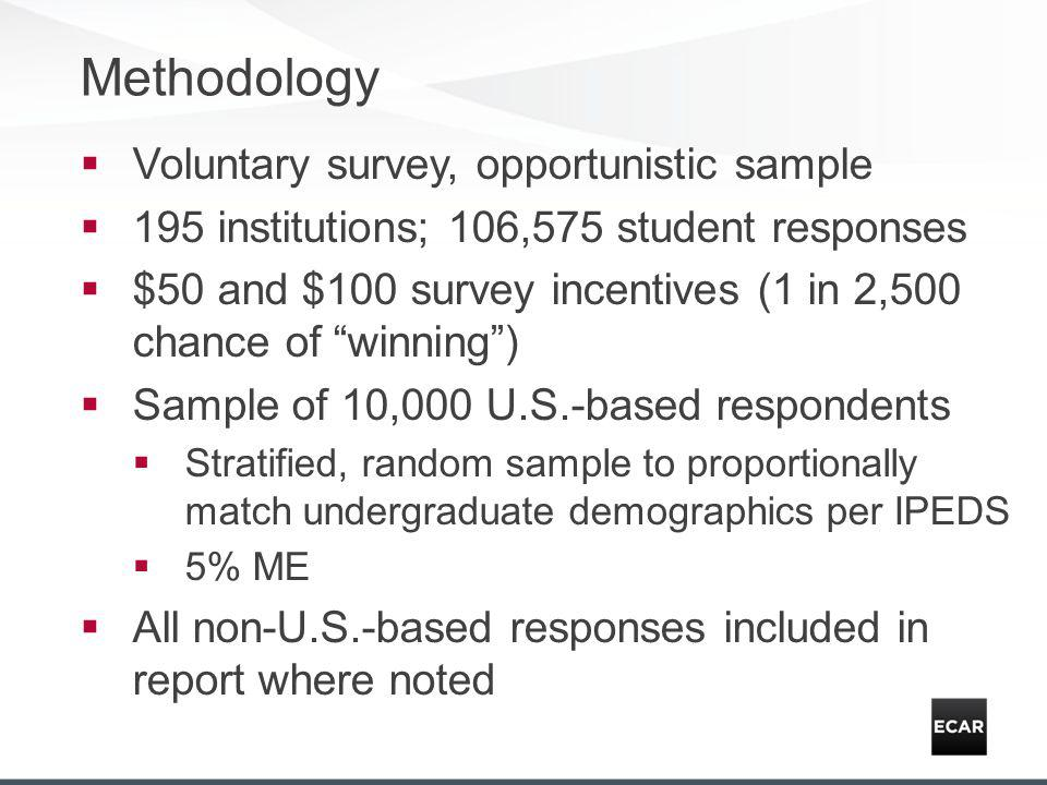 Methodology Voluntary survey, opportunistic sample 195 institutions; 106,575 student responses $50 and $100 survey incentives (1 in 2,500 chance of winning) Sample of 10,000 U.S.-based respondents Stratified, random sample to proportionally match undergraduate demographics per IPEDS 5% ME All non-U.S.-based responses included in report where noted