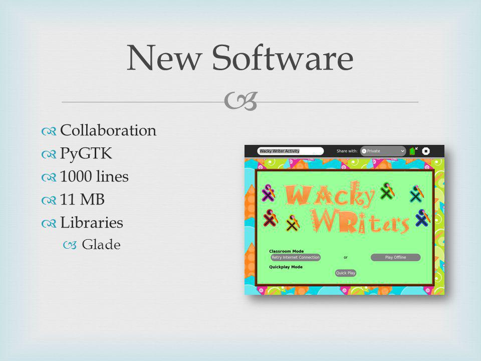 New Software Collaboration PyGTK 1000 lines 11 MB Libraries Glade