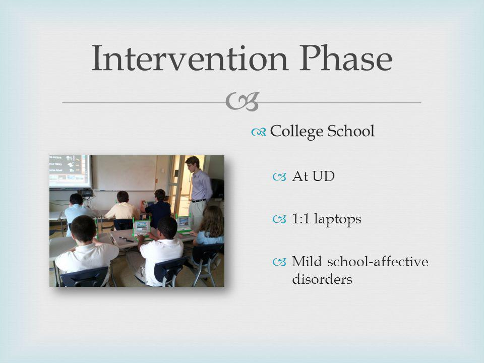 Intervention Phase College School At UD 1:1 laptops Mild school-affective disorders