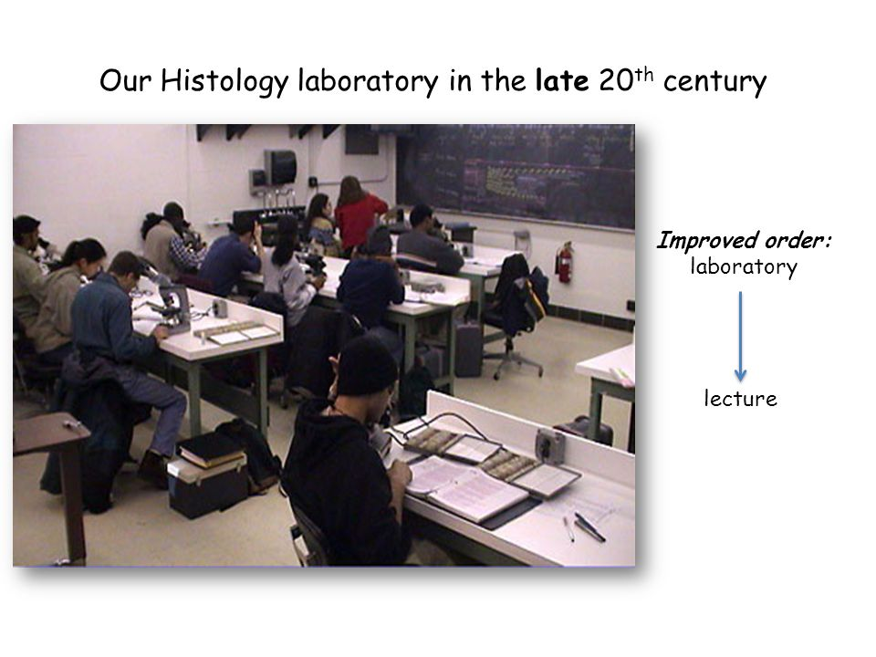 Our Histology laboratory in the late 20 th century Improved order: laboratory lecture
