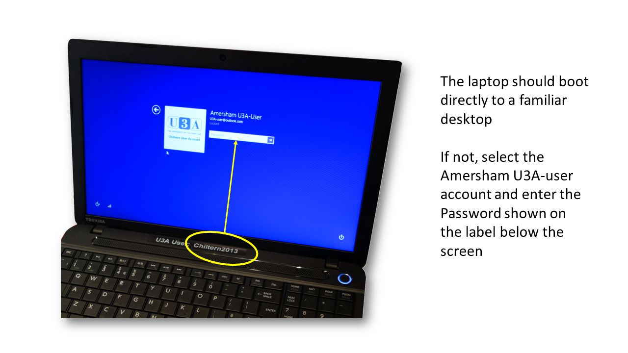 The laptop should boot directly to a familiar desktop If not, select the Amersham U3A-user account and enter the Password shown on the label below the screen