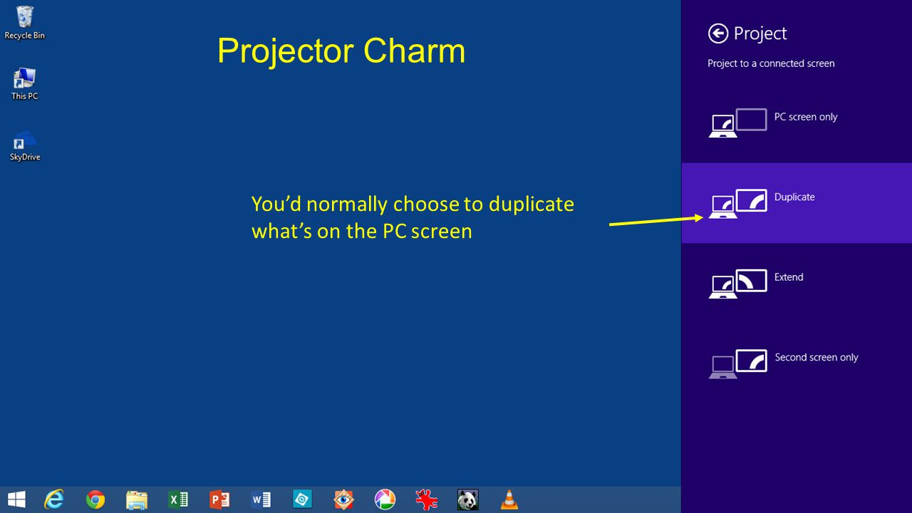 Youd normally choose to duplicate whats on the PC screen Projector Charm