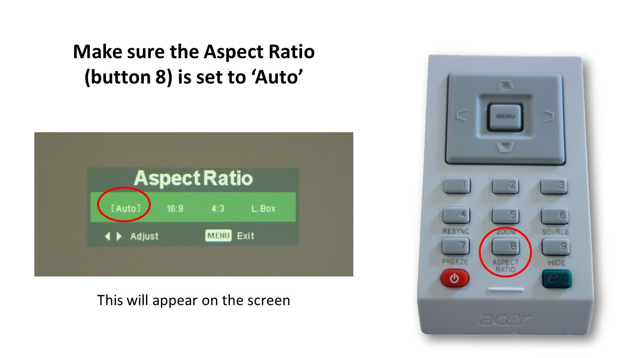 Make sure the Aspect Ratio (button 8) is set to Auto This will appear on the screen