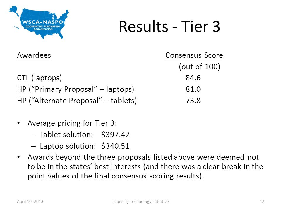 Results - Tier 3 April 10, 2013Learning Technology Initiative12 Awardees Consensus Score (out of 100) CTL (laptops)84.6 HP (Primary Proposal – laptops)81.0 HP (Alternate Proposal – tablets)73.8 Average pricing for Tier 3: – Tablet solution: $397.42 – Laptop solution: $340.51 Awards beyond the three proposals listed above were deemed not to be in the states best interests (and there was a clear break in the point values of the final consensus scoring results).