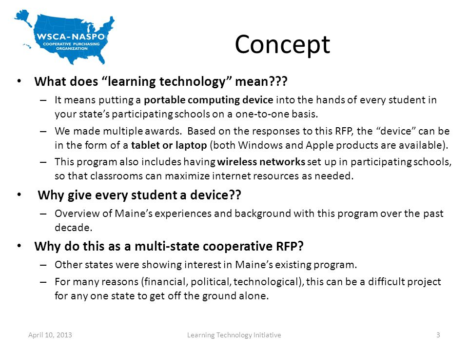 Concept What does learning technology mean .