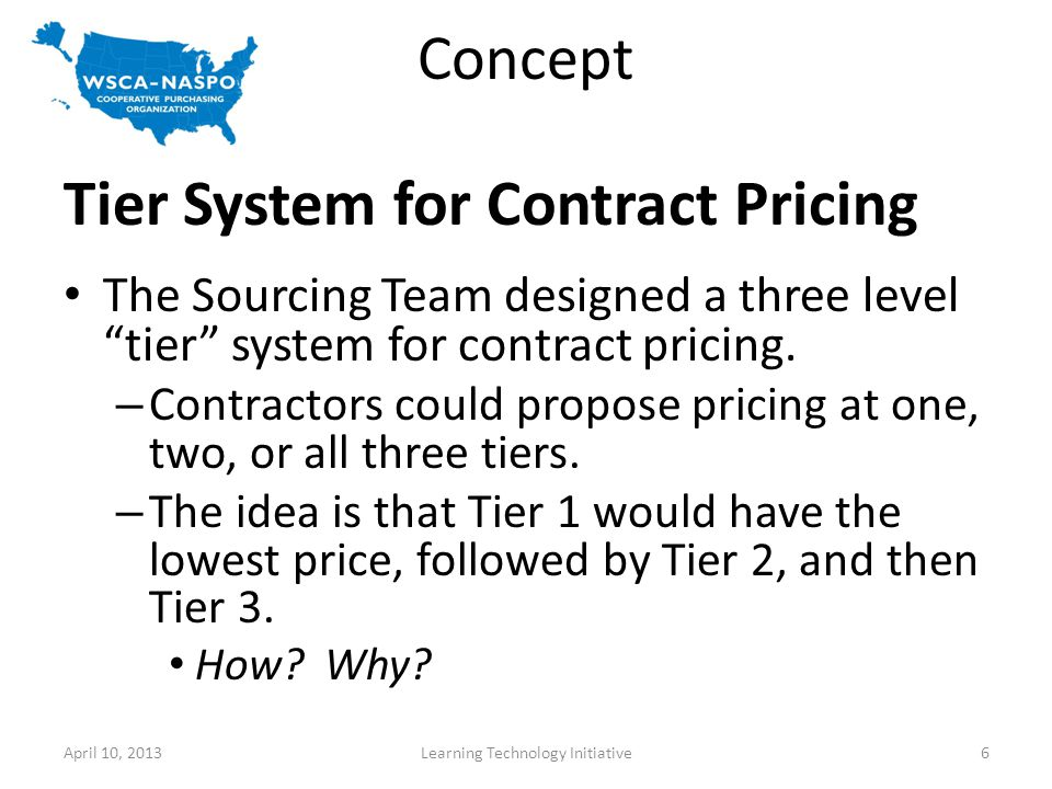 Concept Tier System for Contract Pricing The Sourcing Team designed a three level tier system for contract pricing.