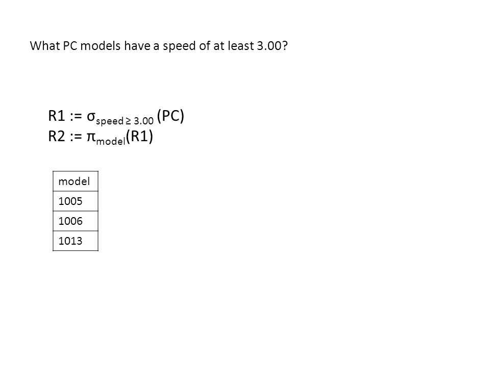 What PC models have a speed of at least 3.00.