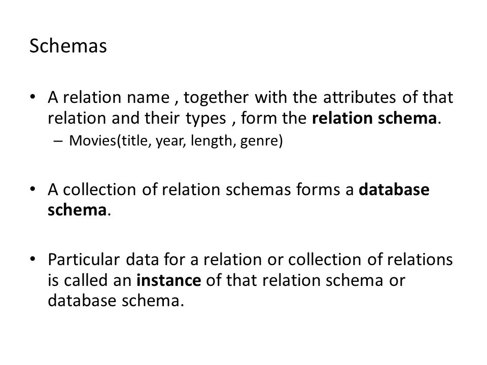 Schemas A relation name, together with the attributes of that relation and their types, form the relation schema.