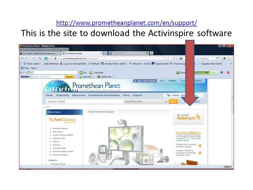 http://www.prometheanplanet.com/en/support/ http://www.prometheanplanet.com/en/support/ This is the site to download the Activinspire software