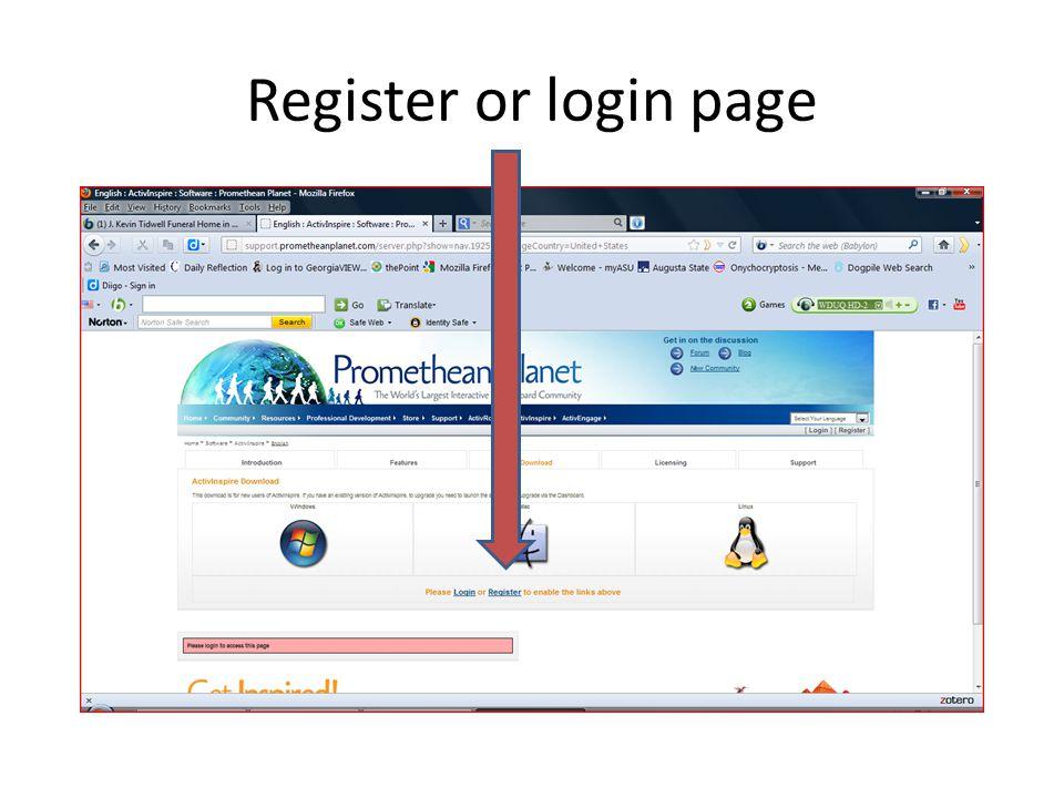Register or login page