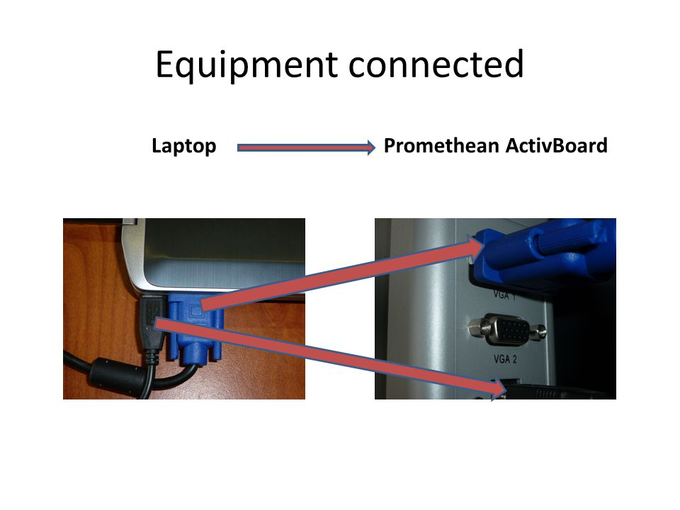 Equipment connected LaptopPromethean ActivBoard