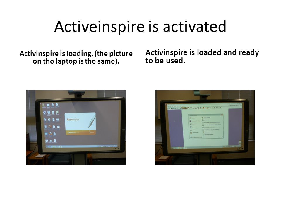 Activeinspire is activated Activinspire is loading, (the picture on the laptop is the same). Activinspire is loaded and ready to be used.