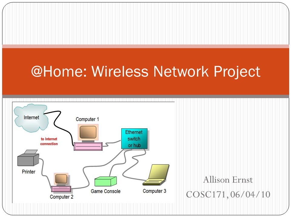 Allison Ernst COSC171, 06/04/10 @Home: Wireless Network Project