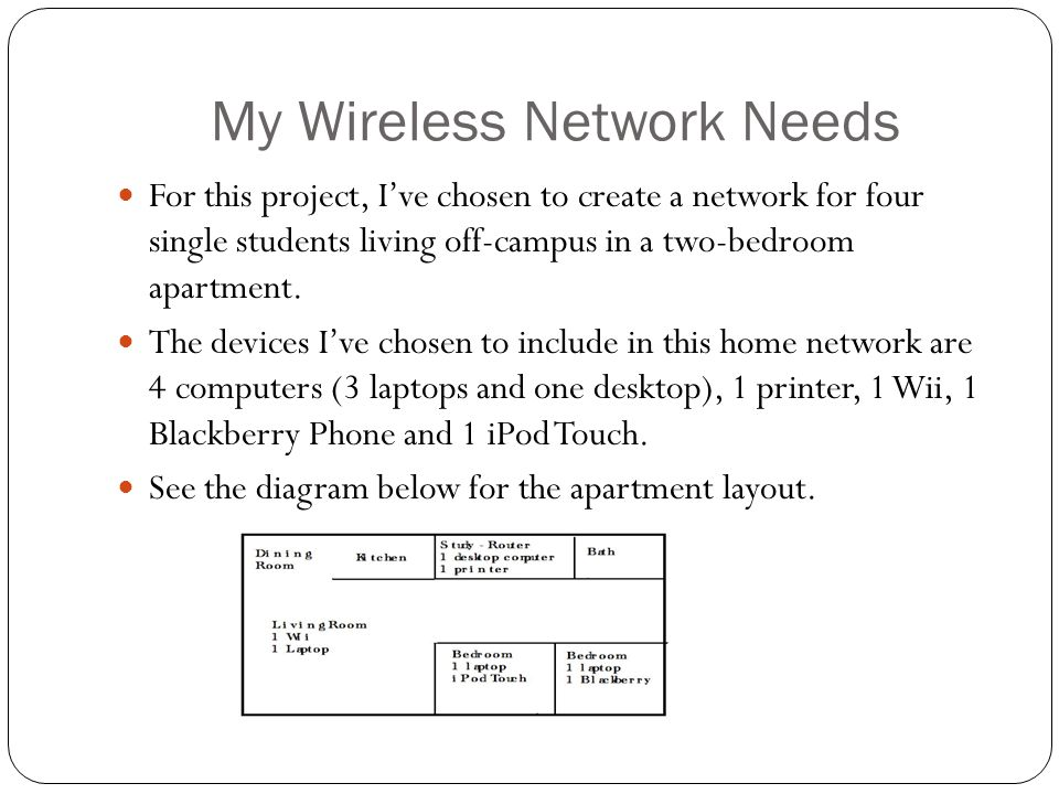 My Wireless Network Needs For this project, Ive chosen to create a network for four single students living off-campus in a two-bedroom apartment. The