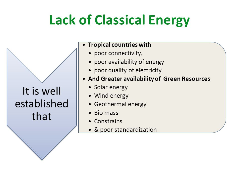 Lack of Classical Energy It is well established that Tropical countries with poor connectivity, poor availability of energy poor quality of electricity.